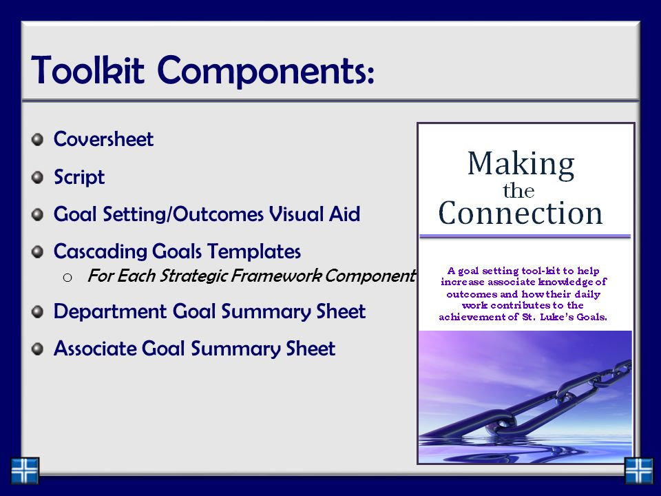 Toolkit Components: Coversheet Script Goal Setting/Outcomes Visual Aid Cascading Goals Templates o For Each Strategic Framework Component Department Goal Summary Sheet Associate Goal Summary Sheet