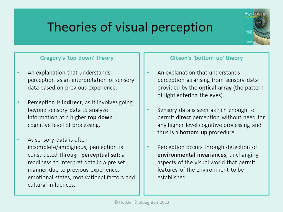 Theories of visual perception Gregory's 'top down' theory An explanation that understands perception as an interpretation of sensory data based on previous experience.