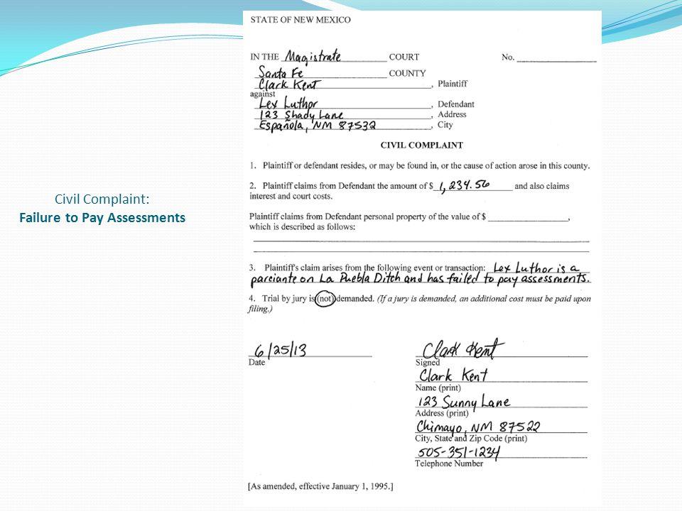 Civil Complaint: Failure to Pay Assessments