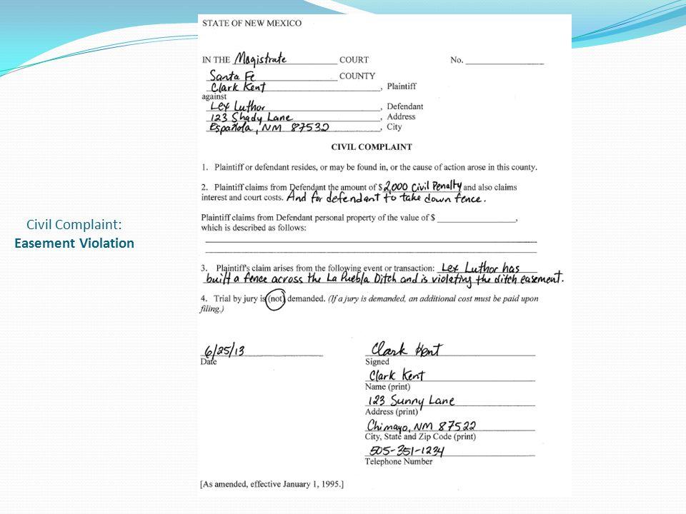Civil Complaint: Easement Violation