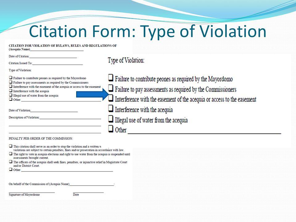 Citation Form: Type of Violation