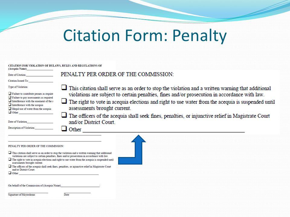 Citation Form: Penalty