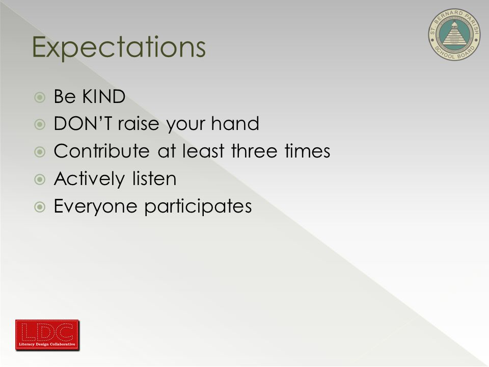  Be KIND  DON'T raise your hand  Contribute at least three times  Actively listen  Everyone participates Expectations