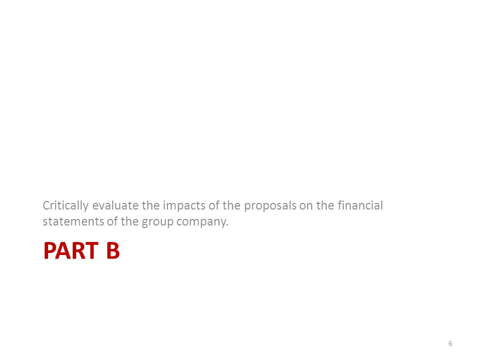 PART B Critically evaluate the impacts of the proposals on the financial statements of the group company.