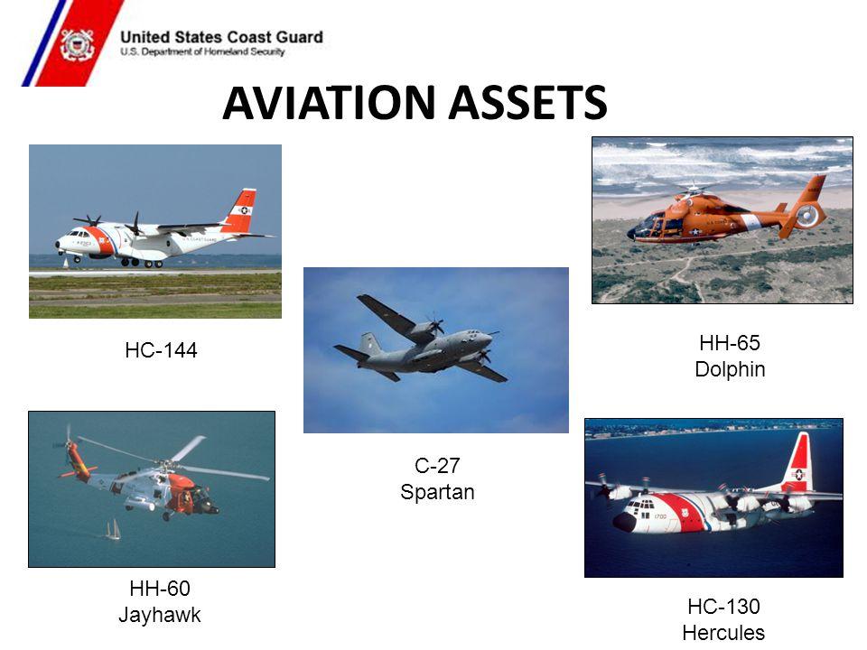 AVIATION ASSETS HC-144 C-27 Spartan HH-65 Dolphin HC-130 Hercules HH-60 Jayhawk
