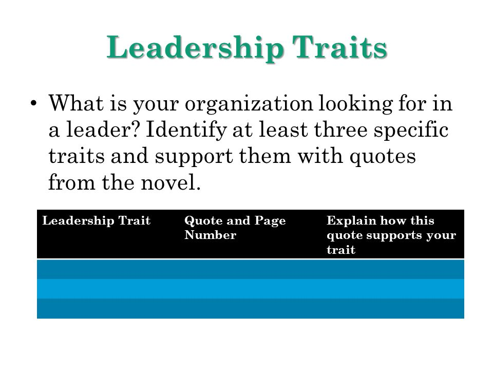 Leadership Traits What is your organization looking for in a leader? Identify at least three specific traits and support them with quotes from the nov