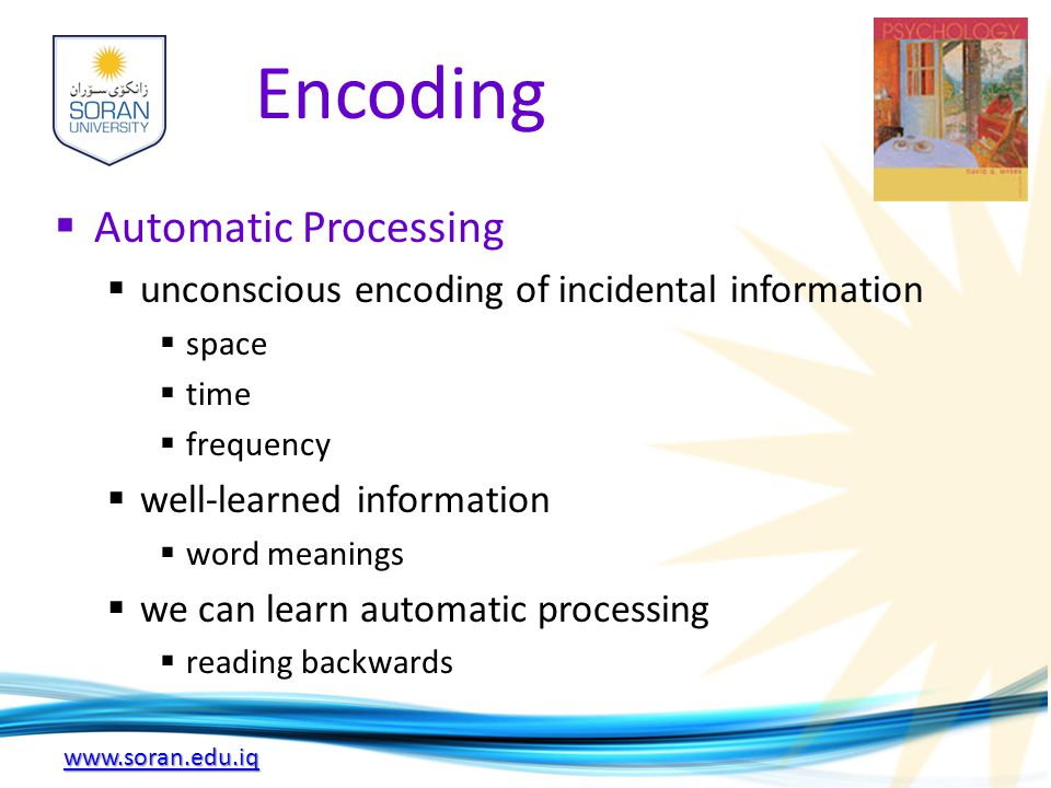 www.soran.edu.iq Encoding  Automatic Processing  unconscious encoding of incidental information  space  time  frequency  well-learned informatio