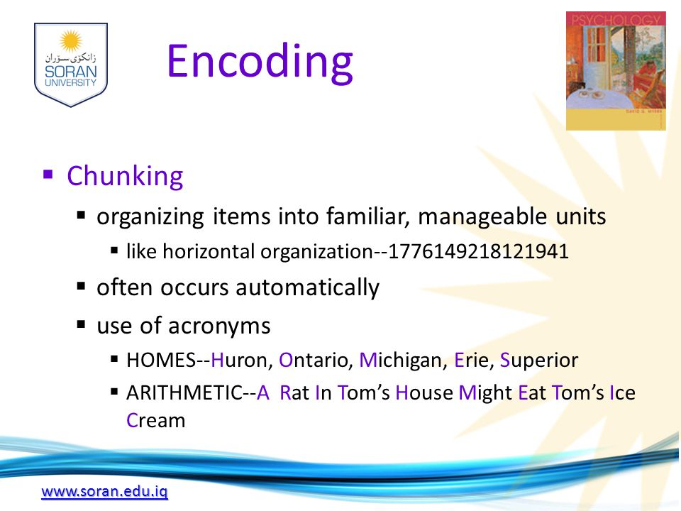 www.soran.edu.iq Encoding  Chunking  organizing items into familiar, manageable units  like horizontal organization--1776149218121941  often occurs automatically  use of acronyms  HOMES--Huron, Ontario, Michigan, Erie, Superior  ARITHMETIC--A Rat In Tom's House Might Eat Tom's Ice Cream