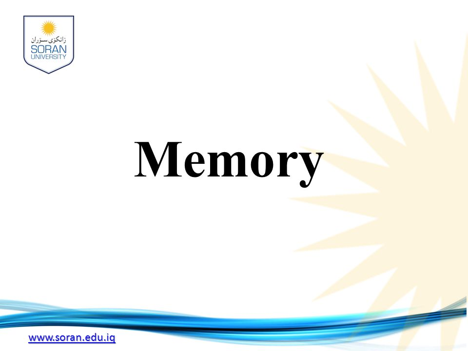 www.soran.edu.iq Memory