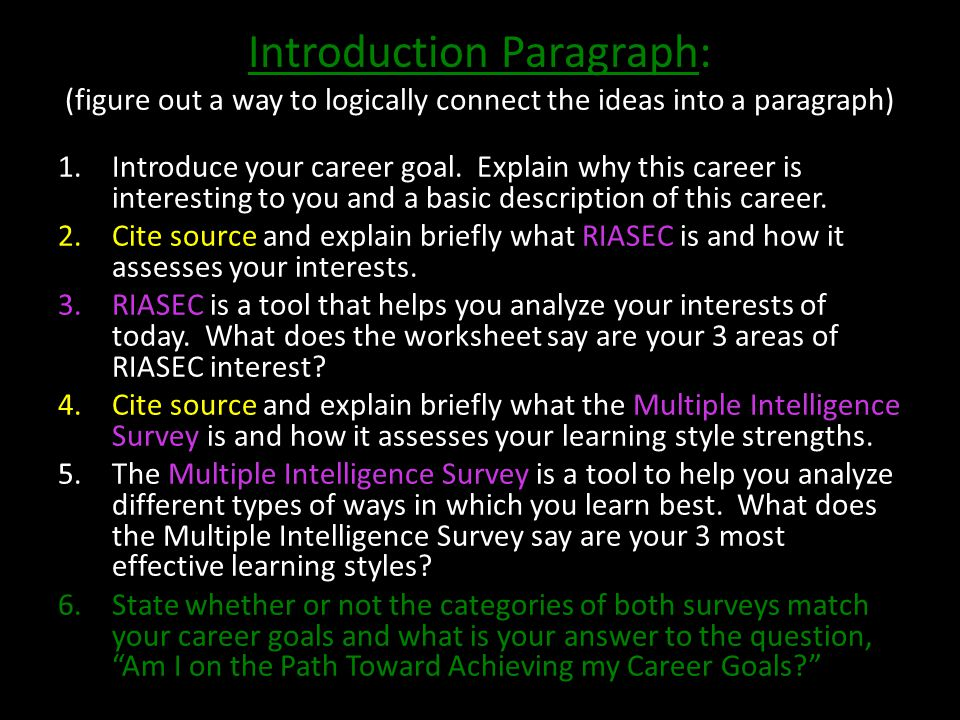 Introduction Paragraph: (figure out a way to logically connect the ideas into a paragraph) 1.Introduce your career goal.