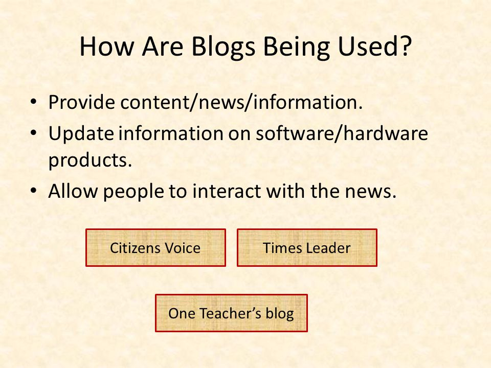 How Are Blogs Being Used. Provide content/news/information.