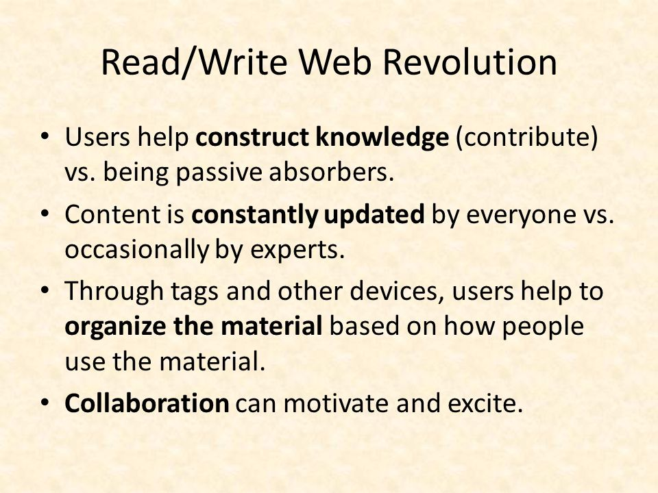 Using Wiki in the Classroom Students learn: – Democratic process of knowledge construction.