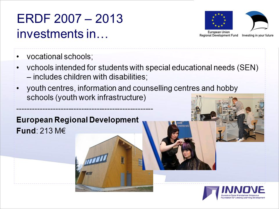 13 ERDF 2007 – 2013 investments in… vocational schools; vchools intended for students with special educational needs (SEN) – includes children with disabilities; youth centres, information and counselling centres and hobby schools (youth work infrastructure) ----------------------------------------------------- European Regional Development Fund: 213 M€