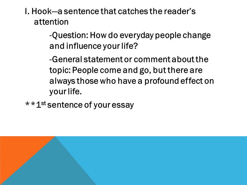 I. Hook—a sentence that catches the reader's attention -Question: How do everyday people change and influence your life? -General statement or comment