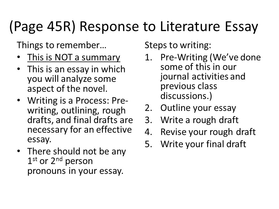 (Page 45R) Response to Literature Essay Things to remember… This is NOT a summary This is an essay in which you will analyze some aspect of the novel.
