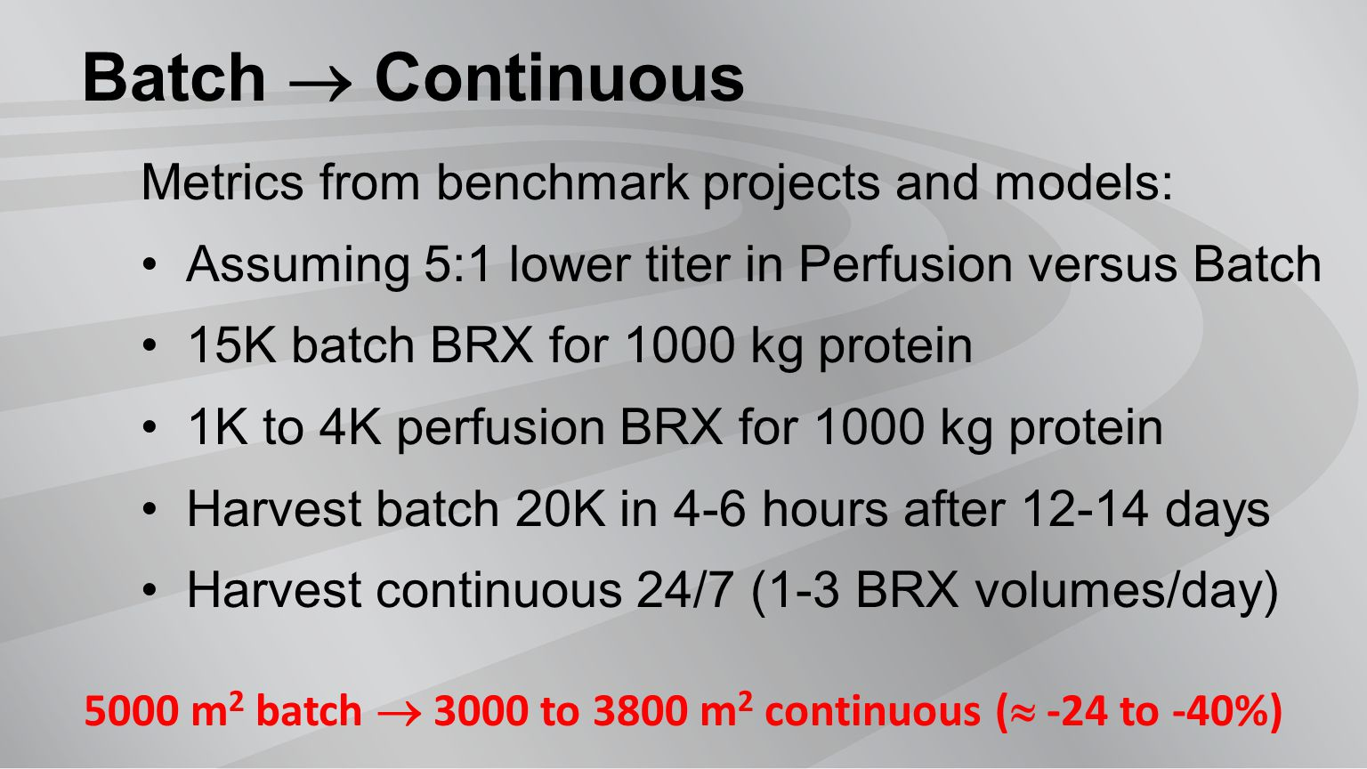 Batch  Continuous Metrics from benchmark projects and models: Assuming 5:1 lower titer in Perfusion versus Batch 15K batch BRX for 1000 kg protein 1K