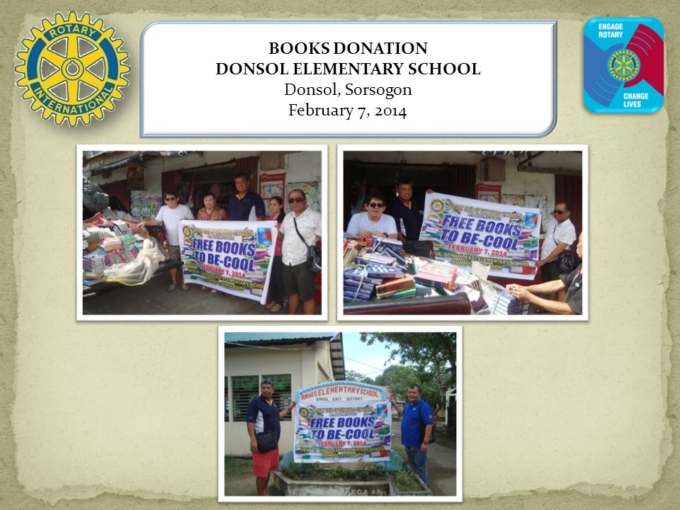 BOOKS DONATION DONSOL ELEMENTARY SCHOOL Donsol, Sorsogon February 7, 2014