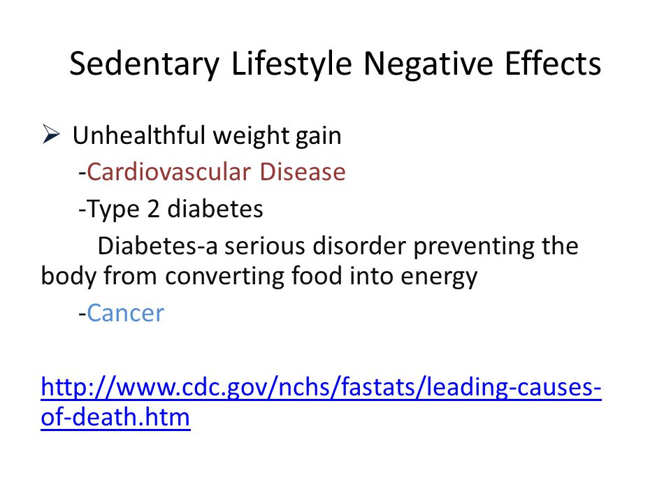 Sedentary Lifestyle Negative Effects  Unhealthful weight gain -Cardiovascular Disease -Type 2 diabetes Diabetes-a serious disorder preventing the bod