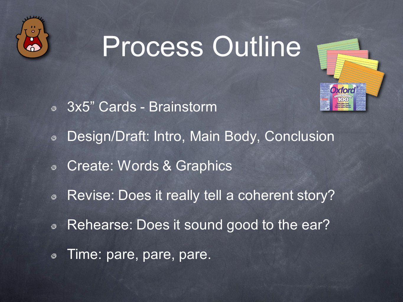 "Process Outline 3x5"" Cards - Brainstorm Design/Draft: Intro, Main Body, Conclusion Create: Words & Graphics Revise: Does it really tell a coherent sto"