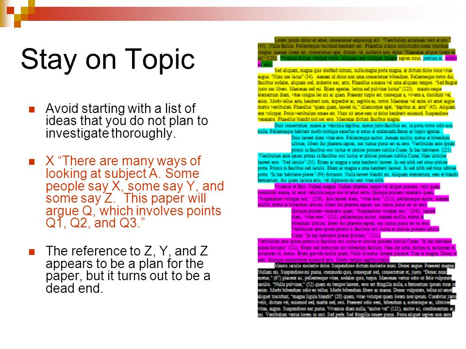 Stay on Topic Avoid starting with a list of ideas that you do not plan to investigate thoroughly.