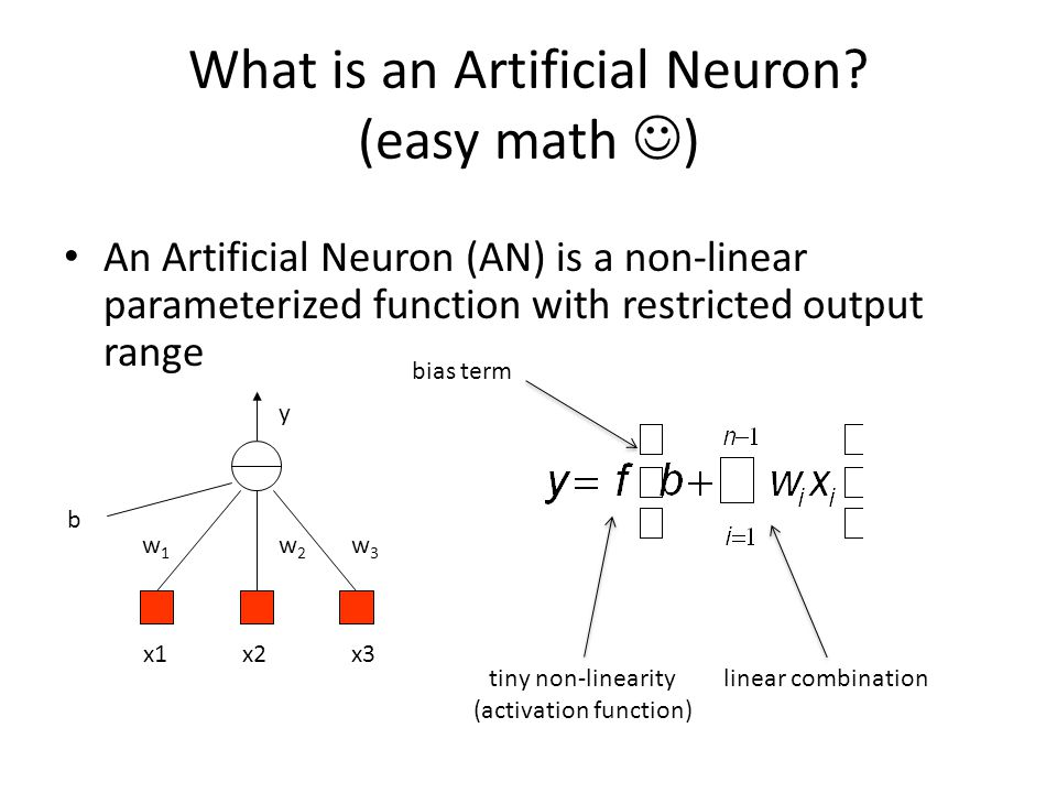 x1x2x3 b y w1w1 w3w3 w2w2 What is an Artificial Neuron? (easy math ) An Artificial Neuron (AN) is a non-linear parameterized function with restricted