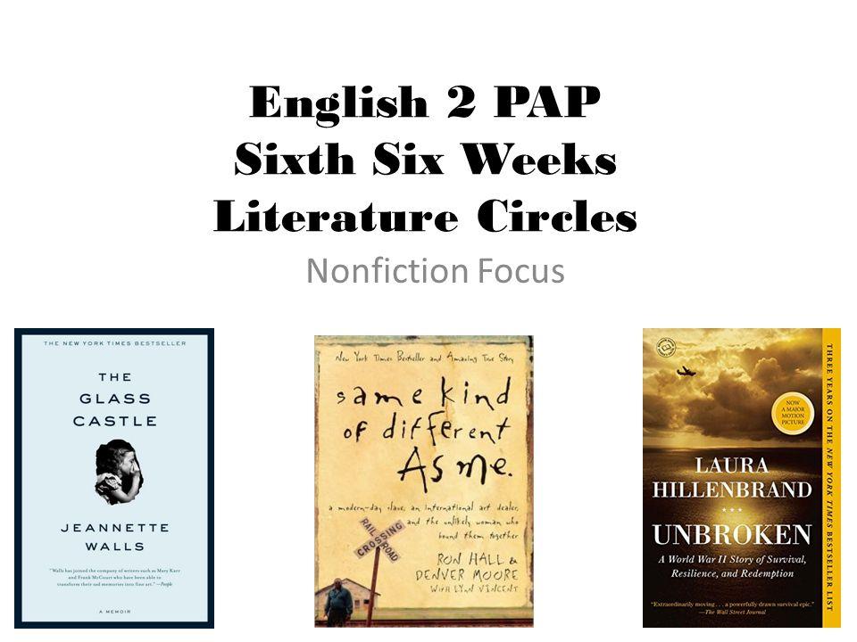 English 2 PAP Sixth Six Weeks Literature Circles Nonfiction Focus