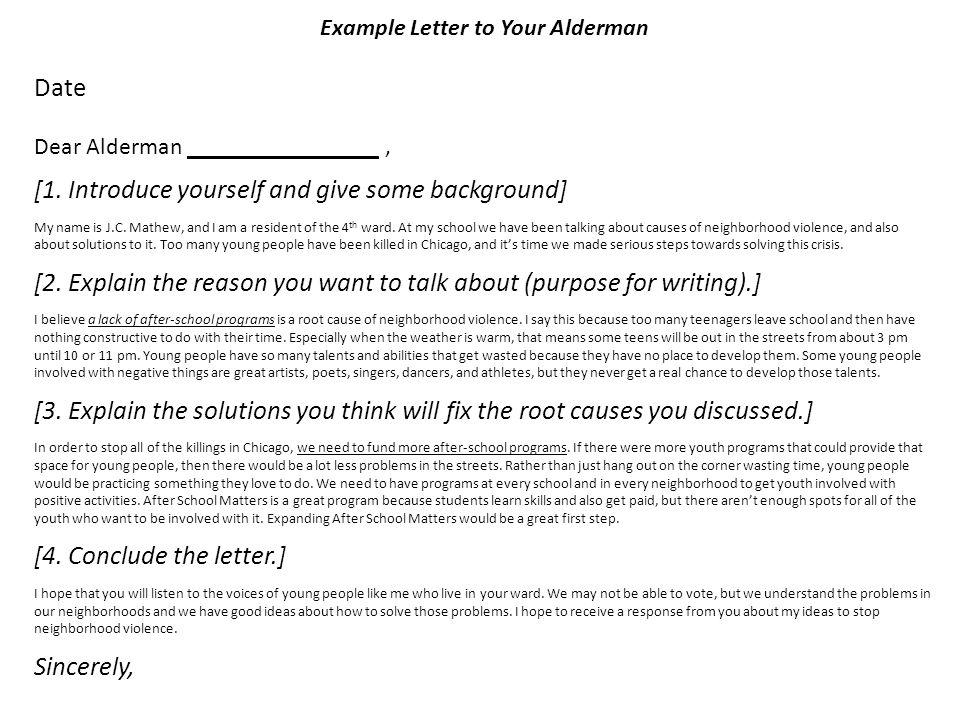 Example Letter to Your Alderman Date Dear Alderman ________________, [1.