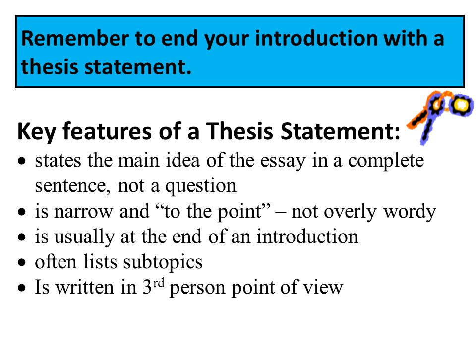 Remember to end your introduction with a thesis statement.