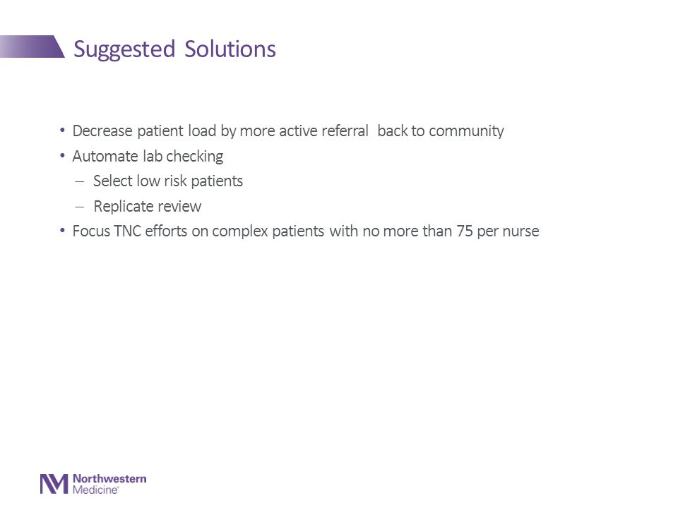 Suggested Solutions Decrease patient load by more active referral back to community Automate lab checking  Select low risk patients  Replicate review Focus TNC efforts on complex patients with no more than 75 per nurse