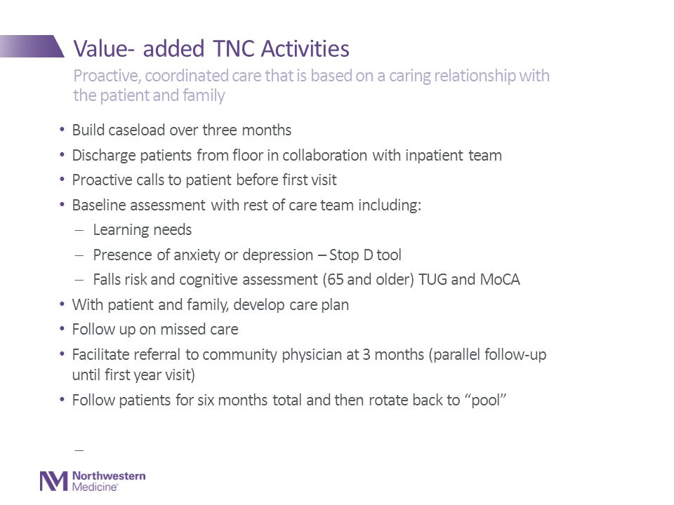 Value- added TNC Activities Build caseload over three months Discharge patients from floor in collaboration with inpatient team Proactive calls to patient before first visit Baseline assessment with rest of care team including:  Learning needs  Presence of anxiety or depression – Stop D tool  Falls risk and cognitive assessment (65 and older) TUG and MoCA With patient and family, develop care plan Follow up on missed care Facilitate referral to community physician at 3 months (parallel follow-up until first year visit) Follow patients for six months total and then rotate back to pool  Proactive, coordinated care that is based on a caring relationship with the patient and family