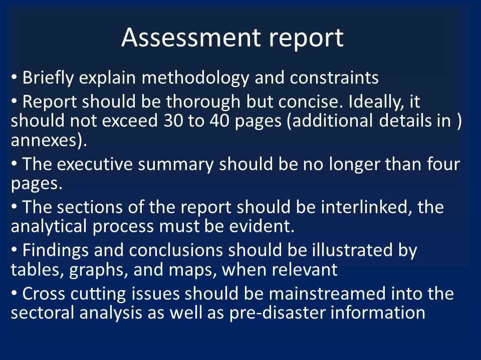 Assessment report Briefly explain methodology and constraints Report should be thorough but concise.