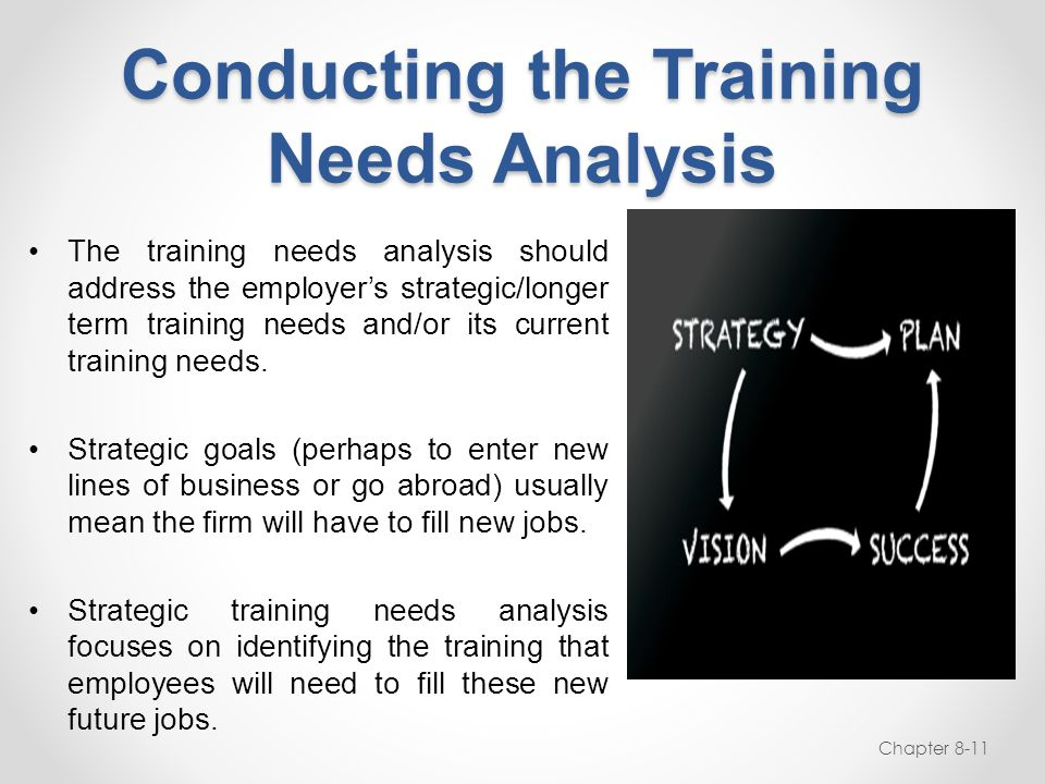 Conducting the Training Needs Analysis The training needs analysis should address the employer's strategic/longer term training needs and/or its curre