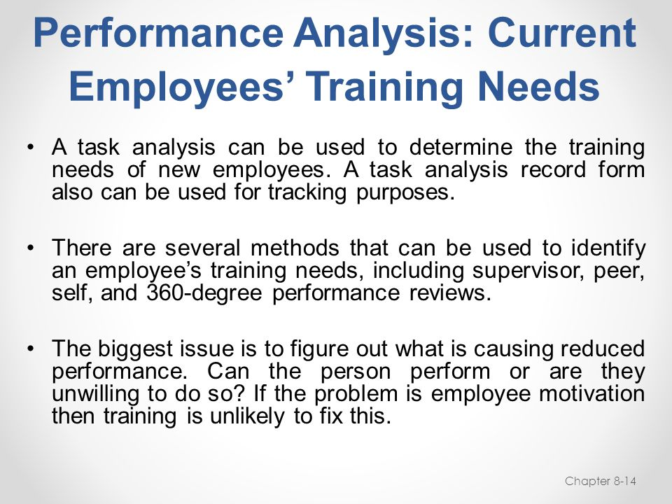 Performance Analysis: Current Employees' Training Needs Chapter 8-14 A task analysis can be used to determine the training needs of new employees. A t