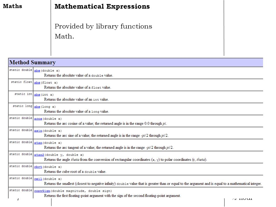 7 Mathematical Expressions Provided by library functions Math. Maths ½ hour