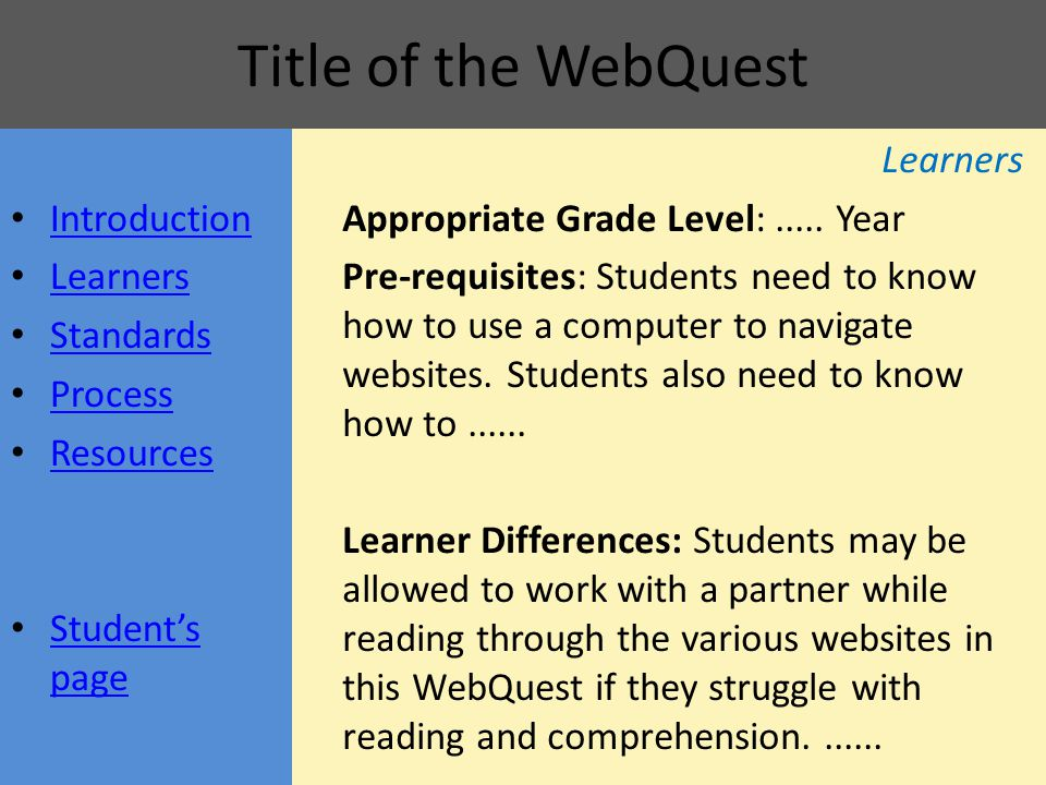 Title of the WebQuest Learners Appropriate Grade Level:..... Year Pre-requisites: Students need to know how to use a computer to navigate websites. St