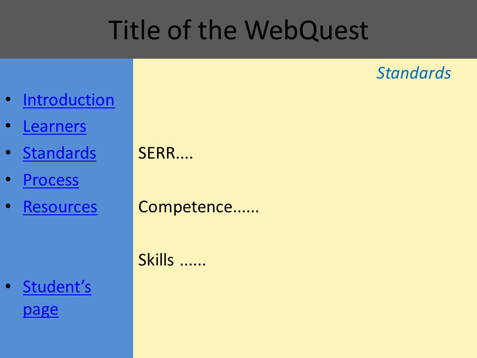 Title of the WebQuest Standards SERR.... Competence...... Skills...... Introduction Learners Standards Process Resources Student's page Student's page
