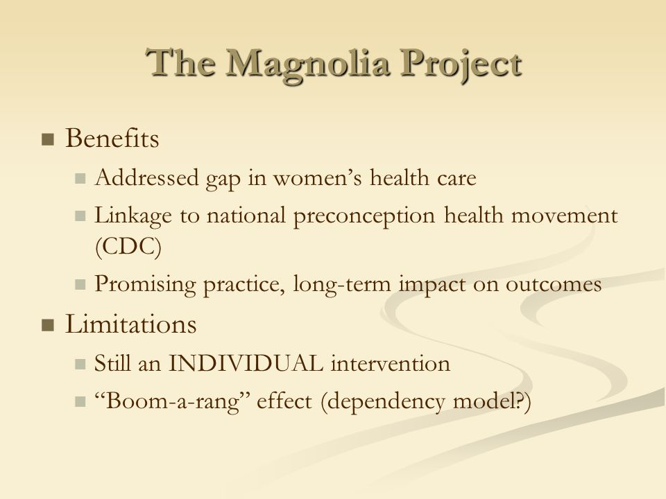 The Magnolia Project Benefits Addressed gap in women's health care Linkage to national preconception health movement (CDC) Promising practice, long-term impact on outcomes Limitations Still an INDIVIDUAL intervention Boom-a-rang effect (dependency model )
