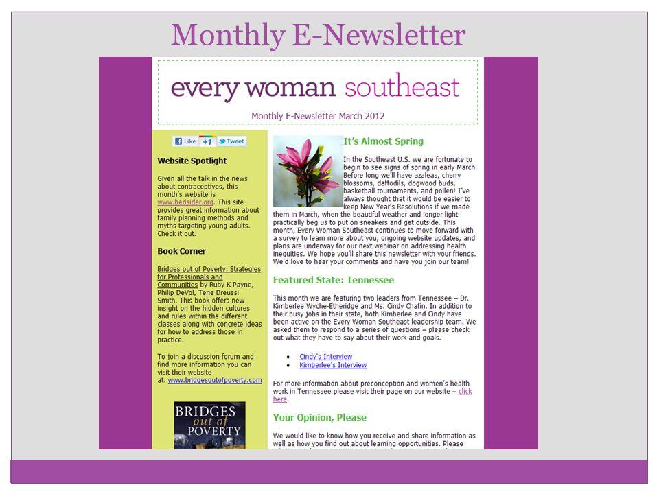 Monthly E-Newsletter
