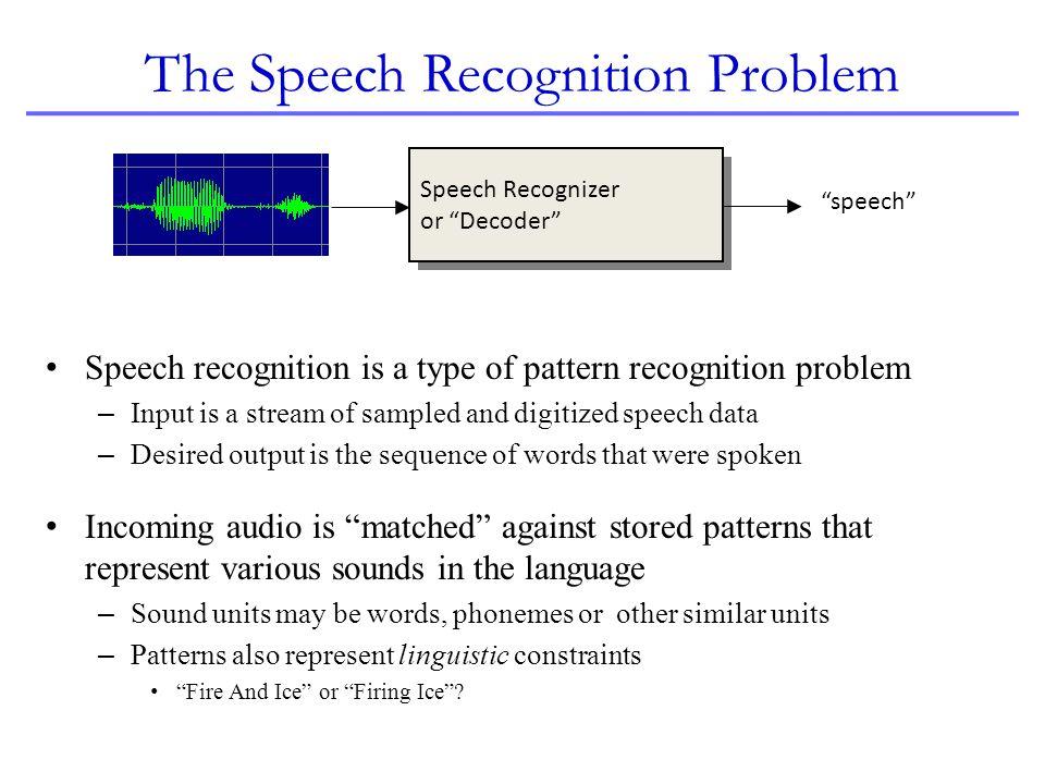 The Speech Recognition Problem Speech recognition is a type of pattern recognition problem – Input is a stream of sampled and digitized speech data –