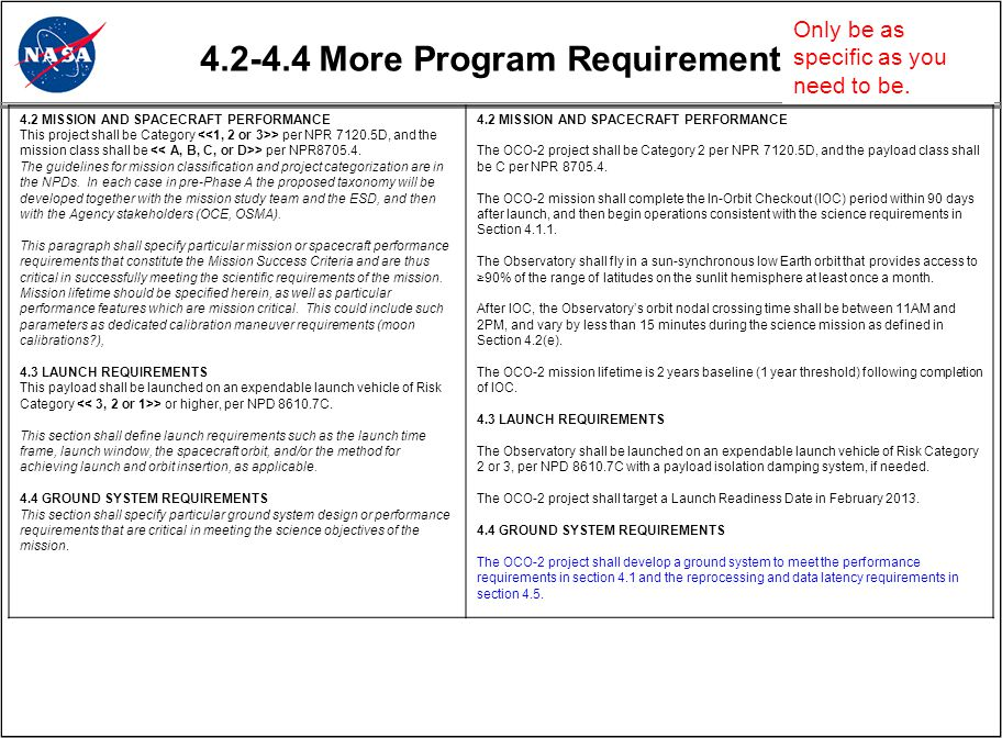 4.2-4.4 More Program Requirements 4.2 MISSION AND SPACECRAFT PERFORMANCE This project shall be Category > per NPR 7120.5D, and the mission class shall be > per NPR8705.4.