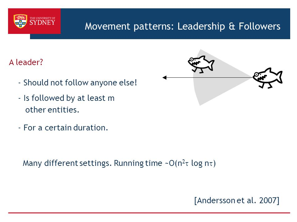 A leader? - Should not follow anyone else! - Is followed by at least m other entities. - For a certain duration. Many different settings. Running time