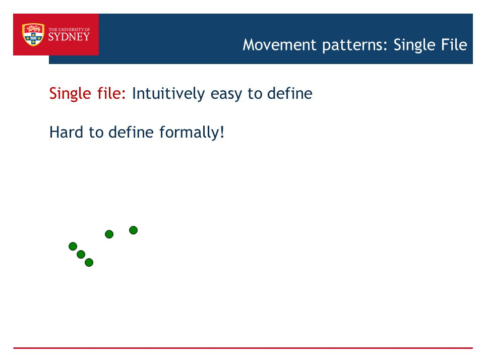 Movement patterns: Single File Single file: Intuitively easy to define Hard to define formally!
