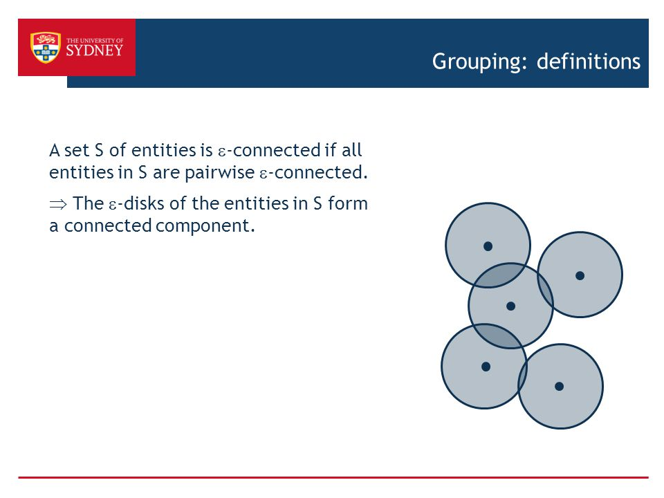 Grouping: definitions A set S of entities is  -connected if all entities in S are pairwise  -connected.