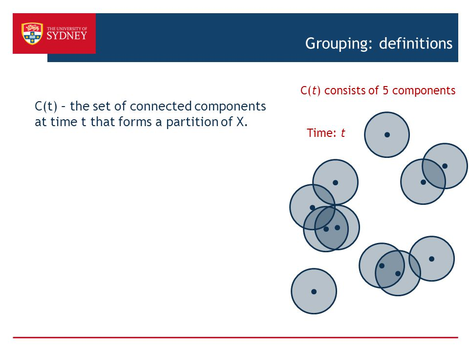 Grouping: definitions C(t) – the set of connected components at time t that forms a partition of X.