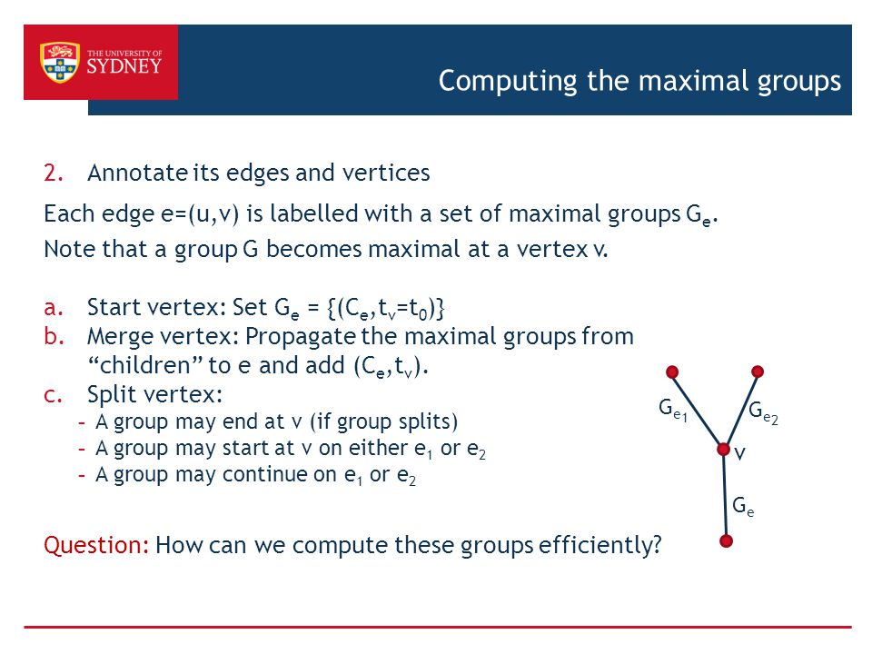 Computing the maximal groups 2.Annotate its edges and vertices Each edge e=(u,v) is labelled with a set of maximal groups G e.