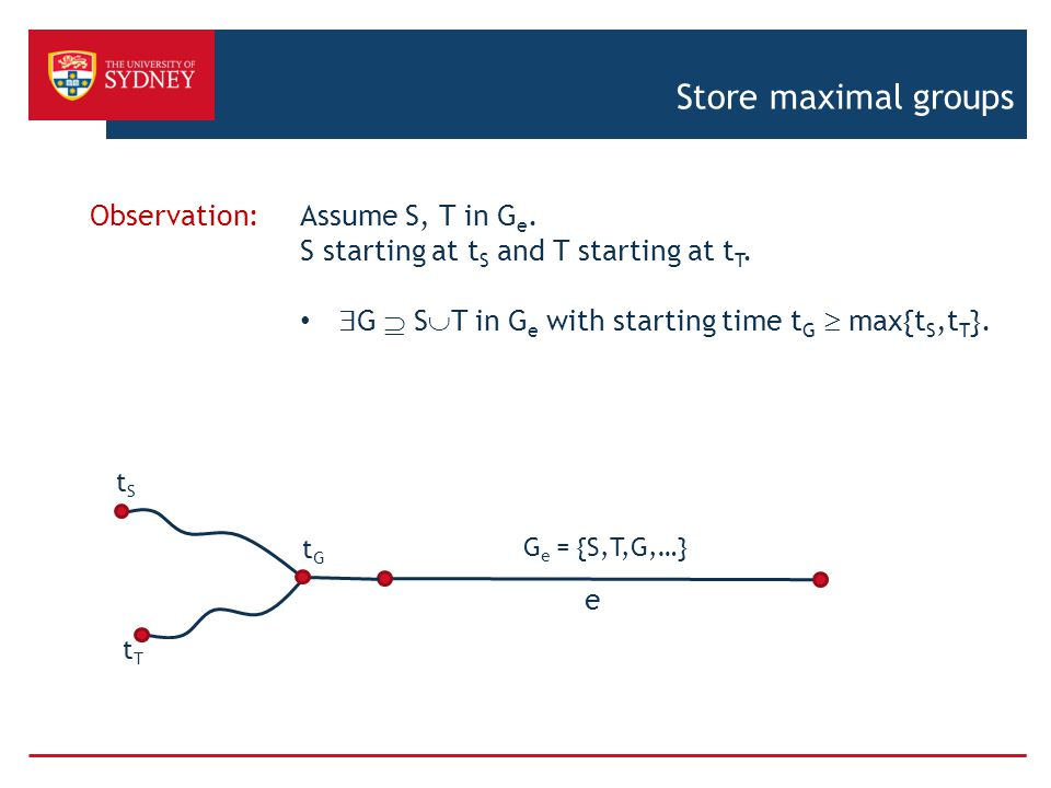 Store maximal groups e Observation: Assume S, T in G e.