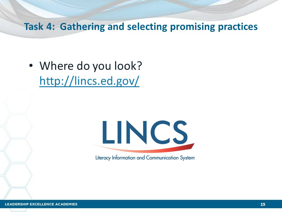 Task 4: Gathering and selecting promising practices Where do you look.