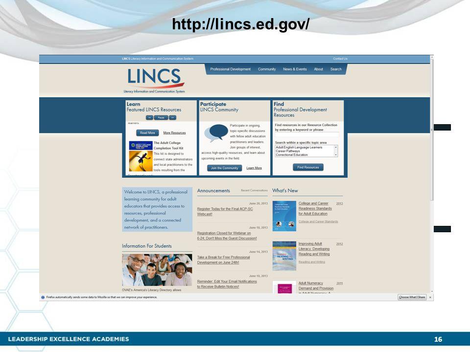 16 http://lincs.ed.gov/