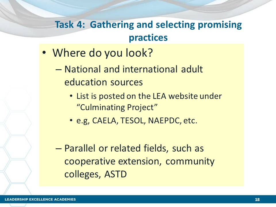 Task 4: Gathering and selecting promising practices Where do you look? – National and international adult education sources List is posted on the LEA