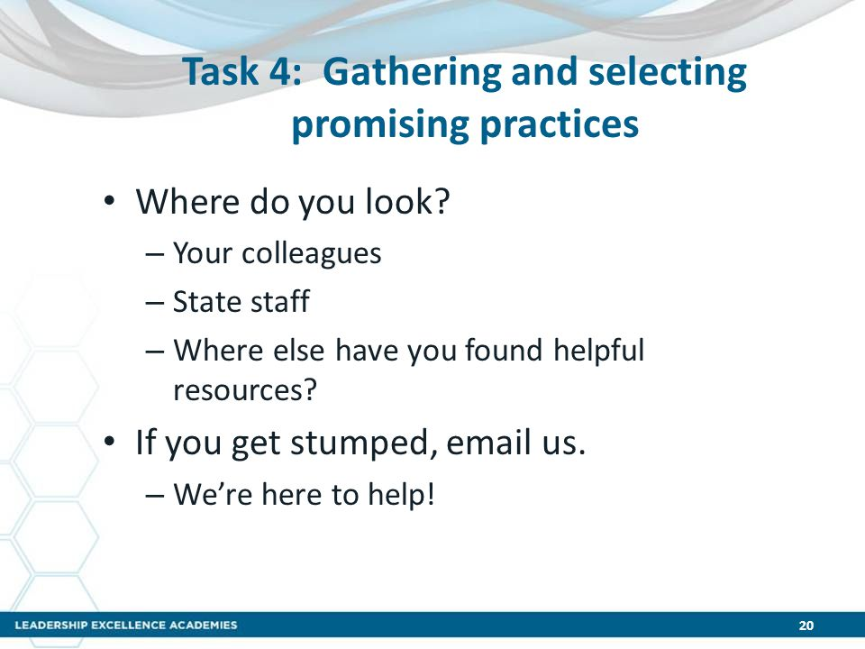 Task 4: Gathering and selecting promising practices Where do you look? – Your colleagues – State staff – Where else have you found helpful resources?